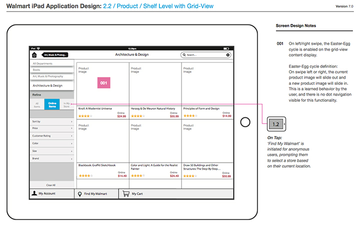 defining transitions and animations for the big and small interactions of the app was key both for hand off to dev and for the internal business teams - Ipad App Wireframe